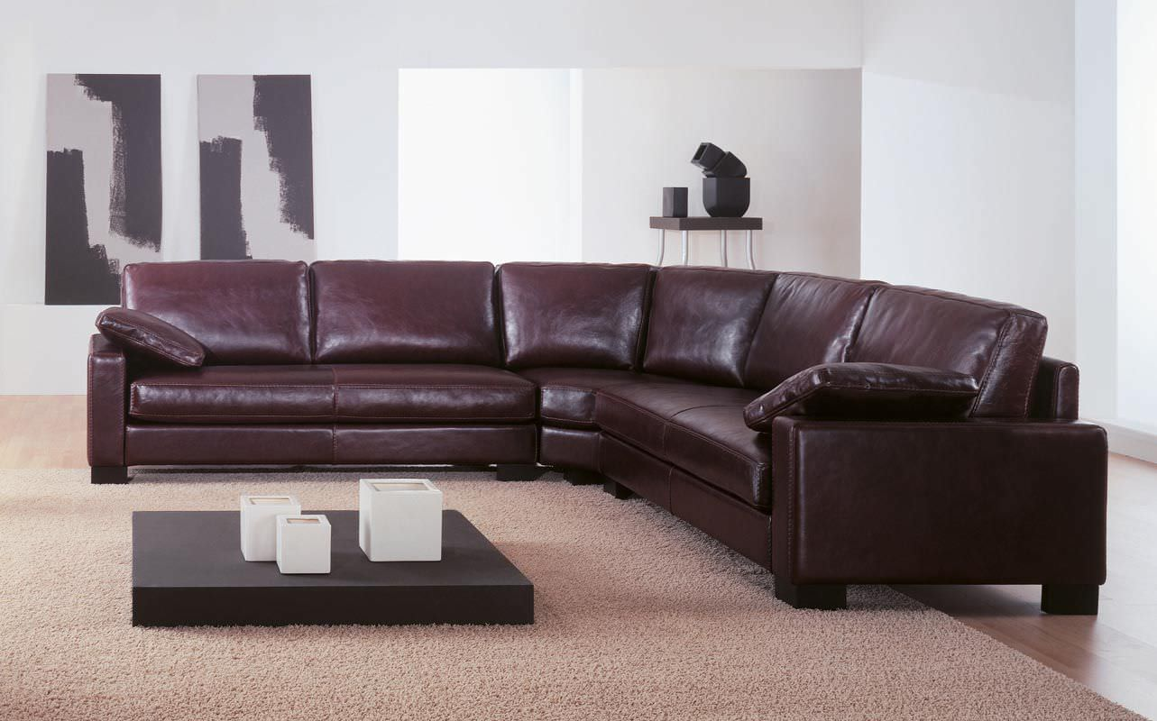 Modular Sofa Corner Contemporary Leather Boston