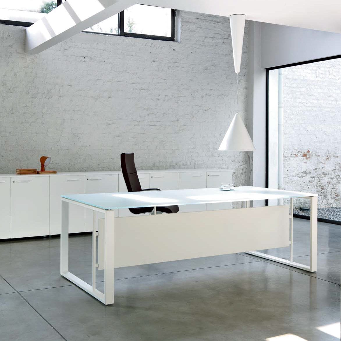 Executive Desk Wooden Metal Glass Velvet