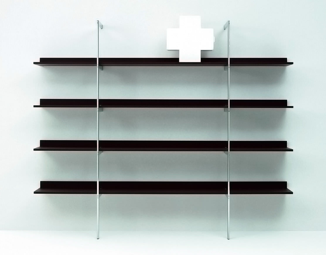 Wall mounted shelf contemporary lacquered wood stained wood