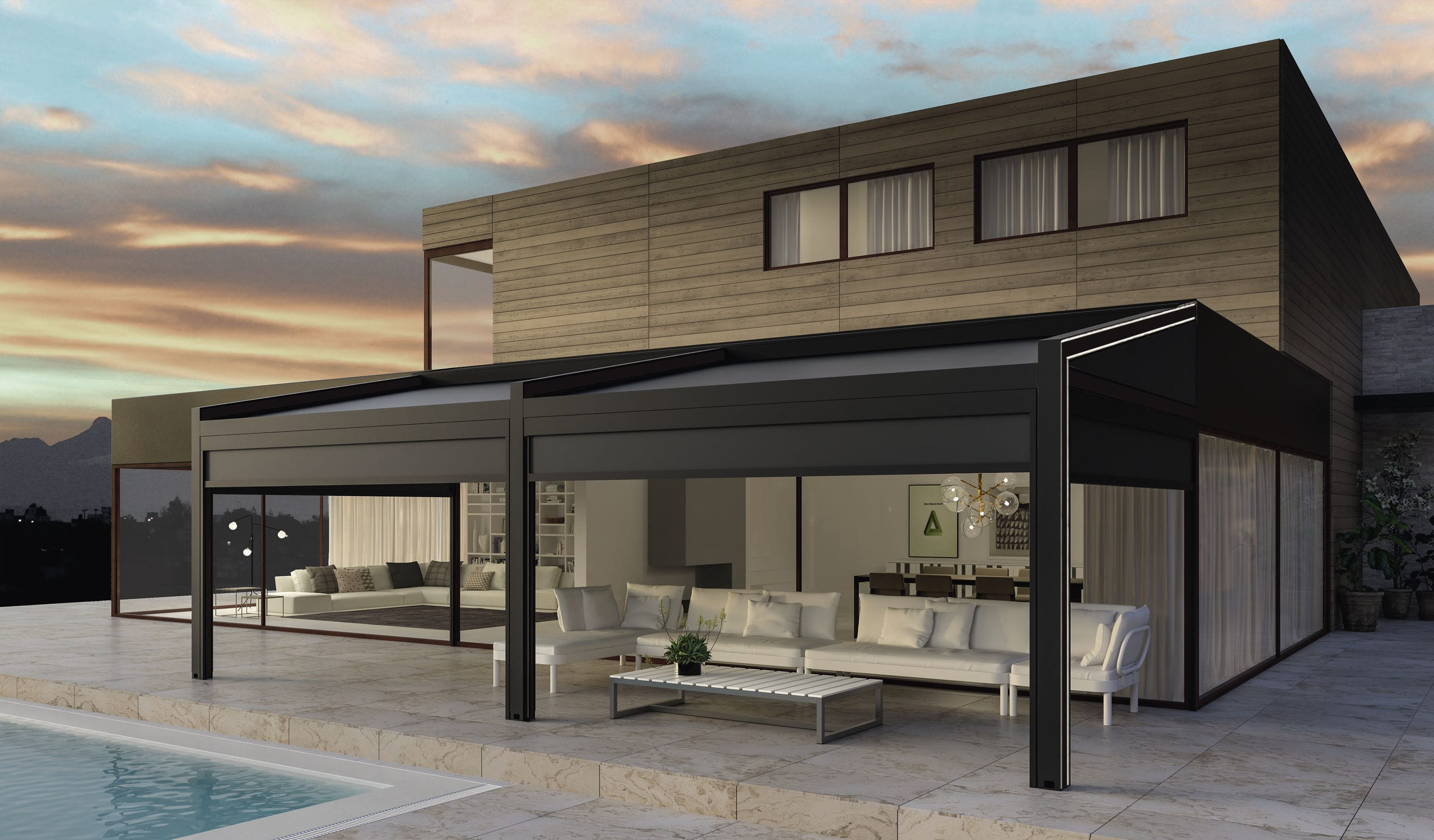 ... Wall-mounted pergola / aluminum / fabric sliding canopy / bioclimatic VEGA KE Outdoor Design ... & Wall-mounted pergola / aluminum / fabric sliding canopy ...
