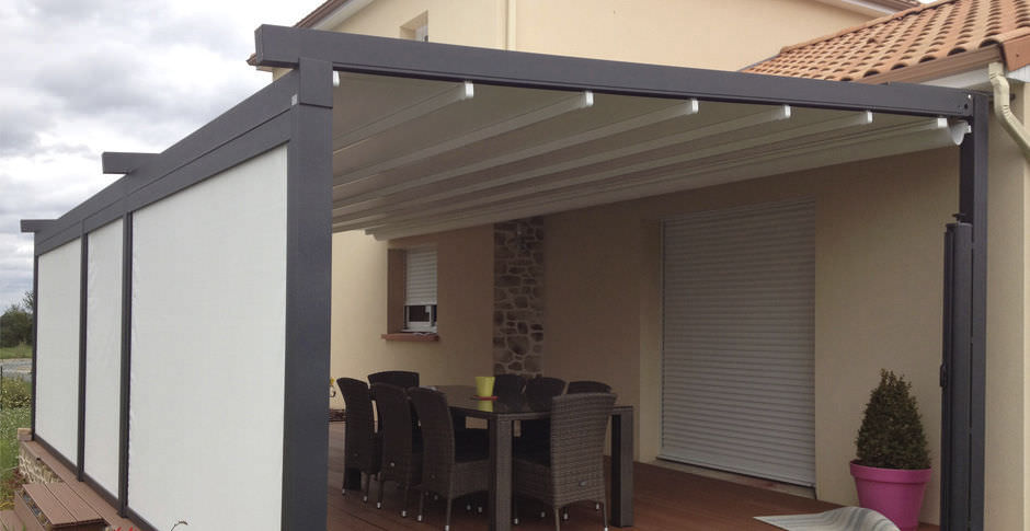 ... Wall-mounted pergola / aluminum / fabric sliding canopy / custom A2 COMPACT KE Outdoor ... & Wall-mounted pergola / aluminum / fabric sliding canopy / custom ...