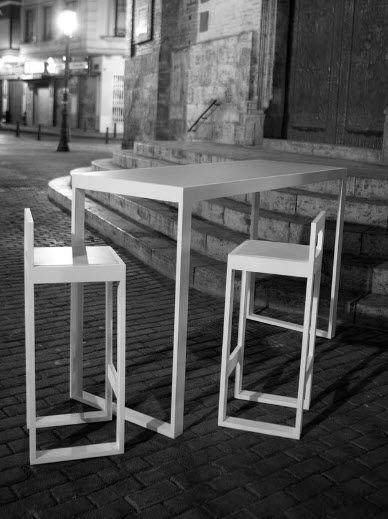 Outdoor Furniture Contemporary High Bar Table Metal Rectangular Garden Vita