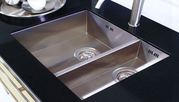 Double kitchen sink / stainless steel / square - BARONGA: BAR3415 ...
