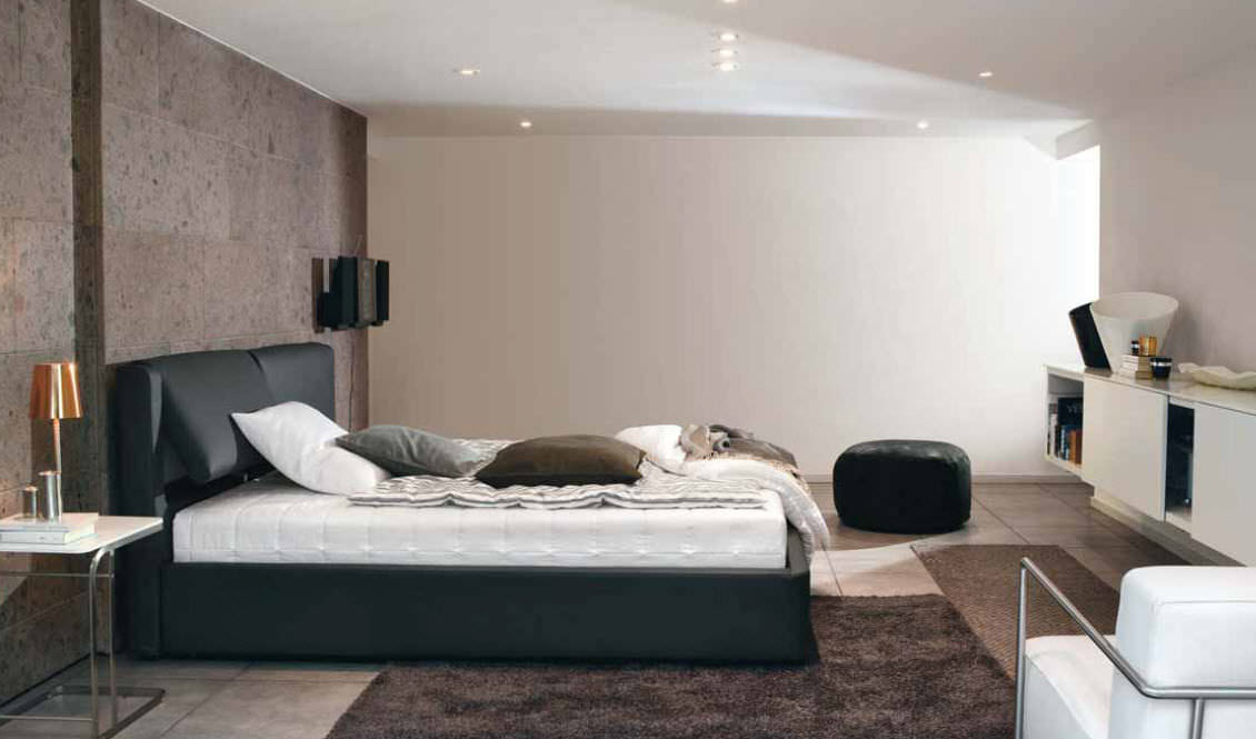 Double Bed Contemporary With Adjustable Headboard Leather