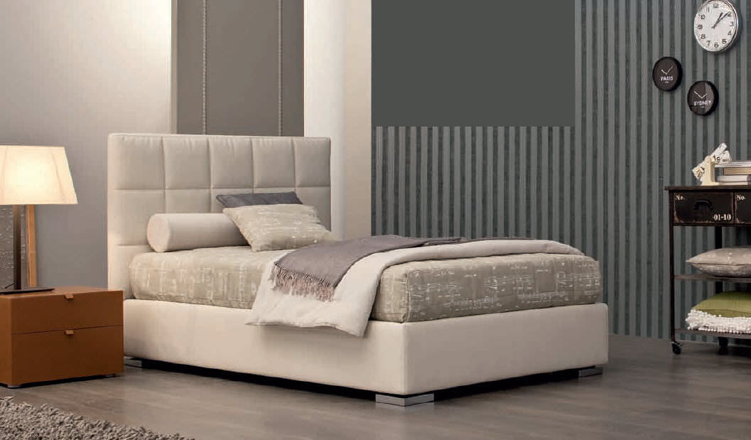 Single bed contemporary with inbase storage fabric VICTOR