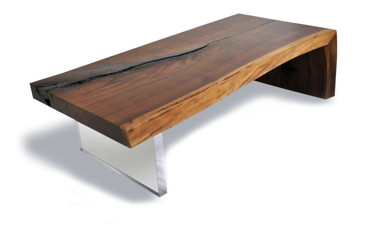 Contemporary Coffee Table / Wooden / Rectangular / In Reclaimed Material    LIVE EDGE WALNUT