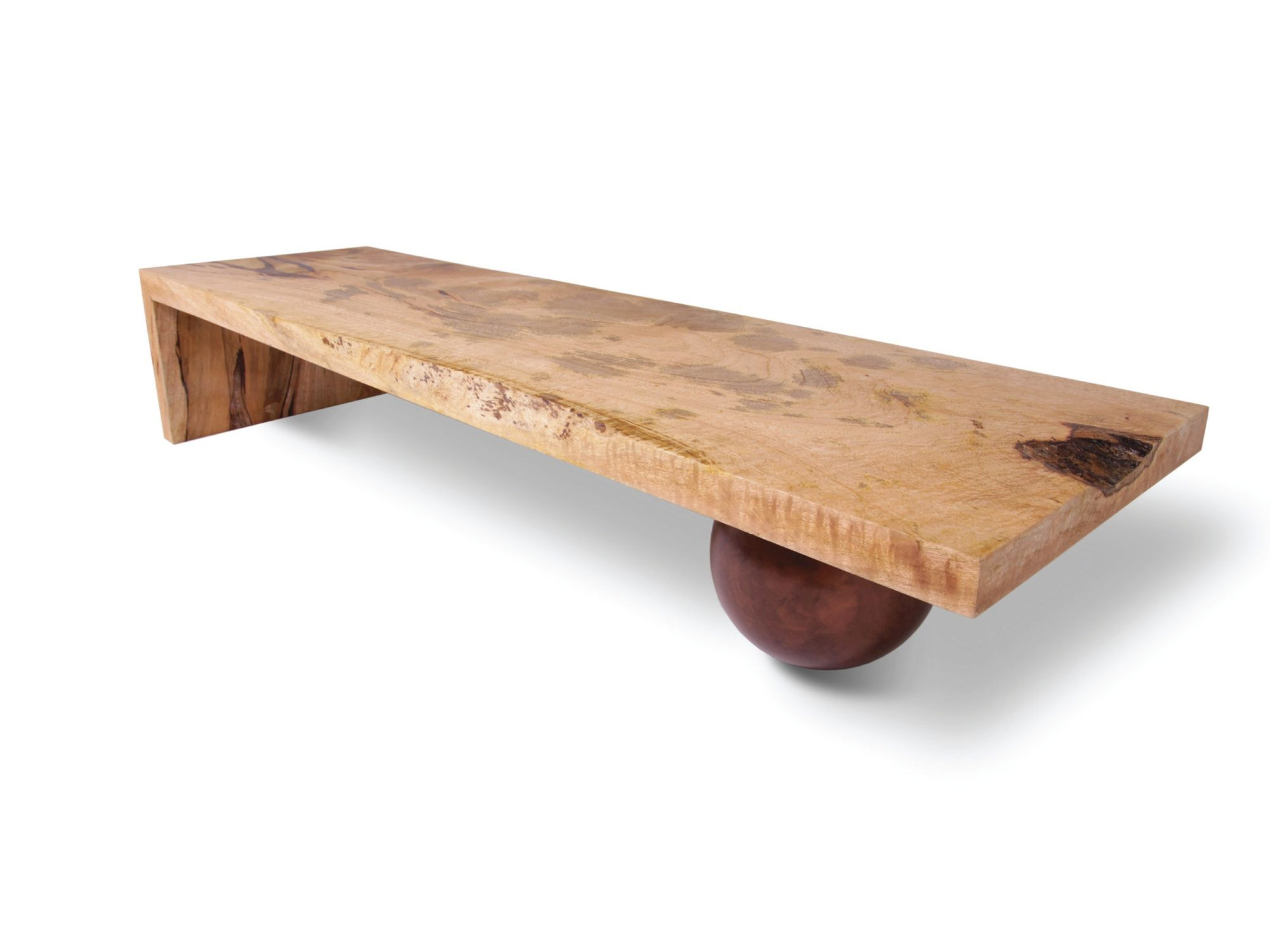 Contemporary coffee table wooden rectangular in reclaimed material mango metal sphere