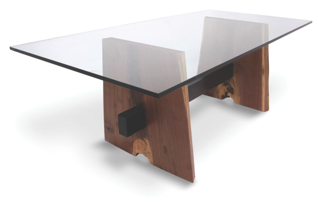Contemporary Table Wooden Rectangular In Reclaimed Material Walnut Base