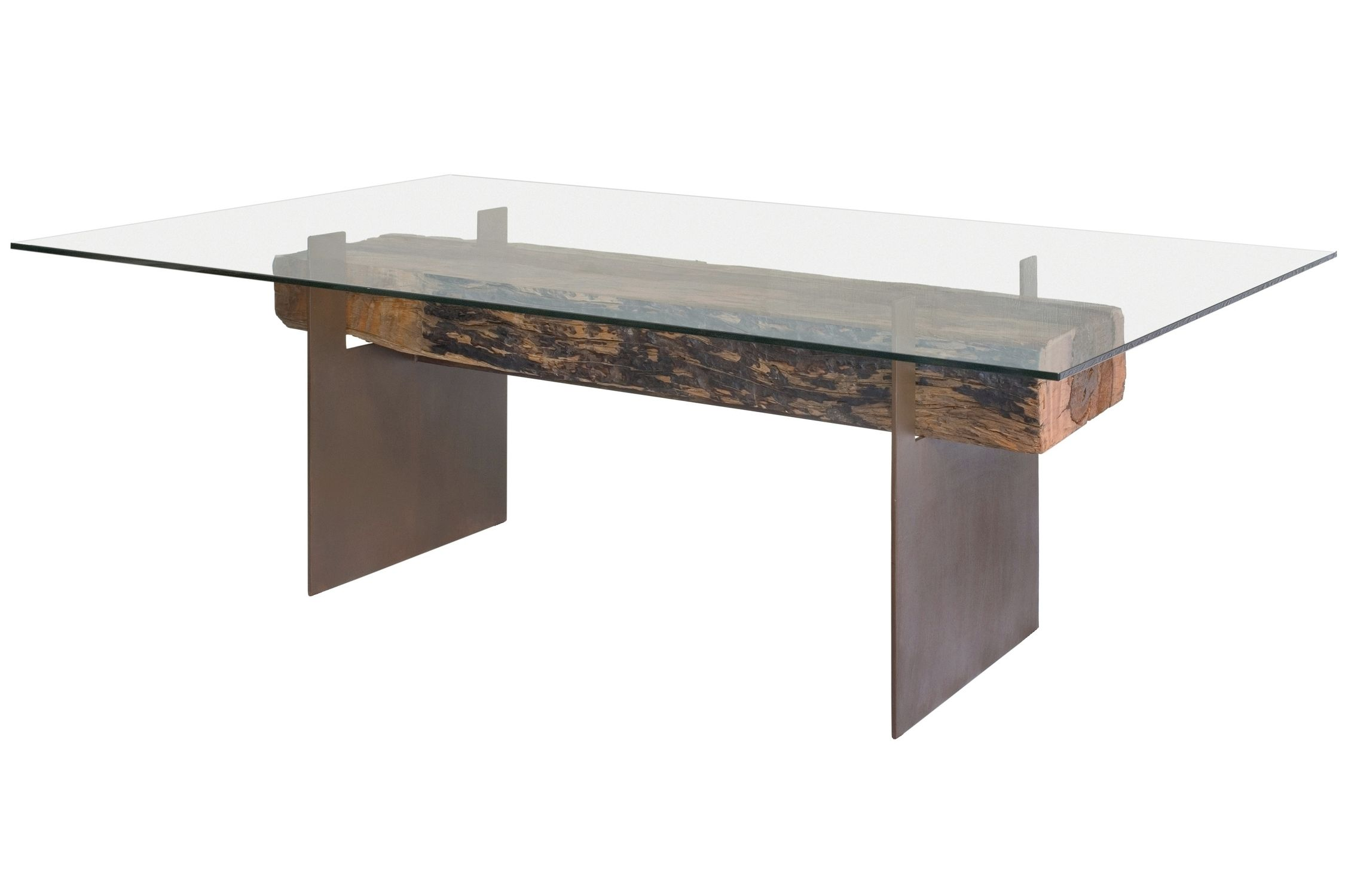 Contemporary Table Wooden Rectangular In Reclaimed Material   Glass And  Wood Dining Tables