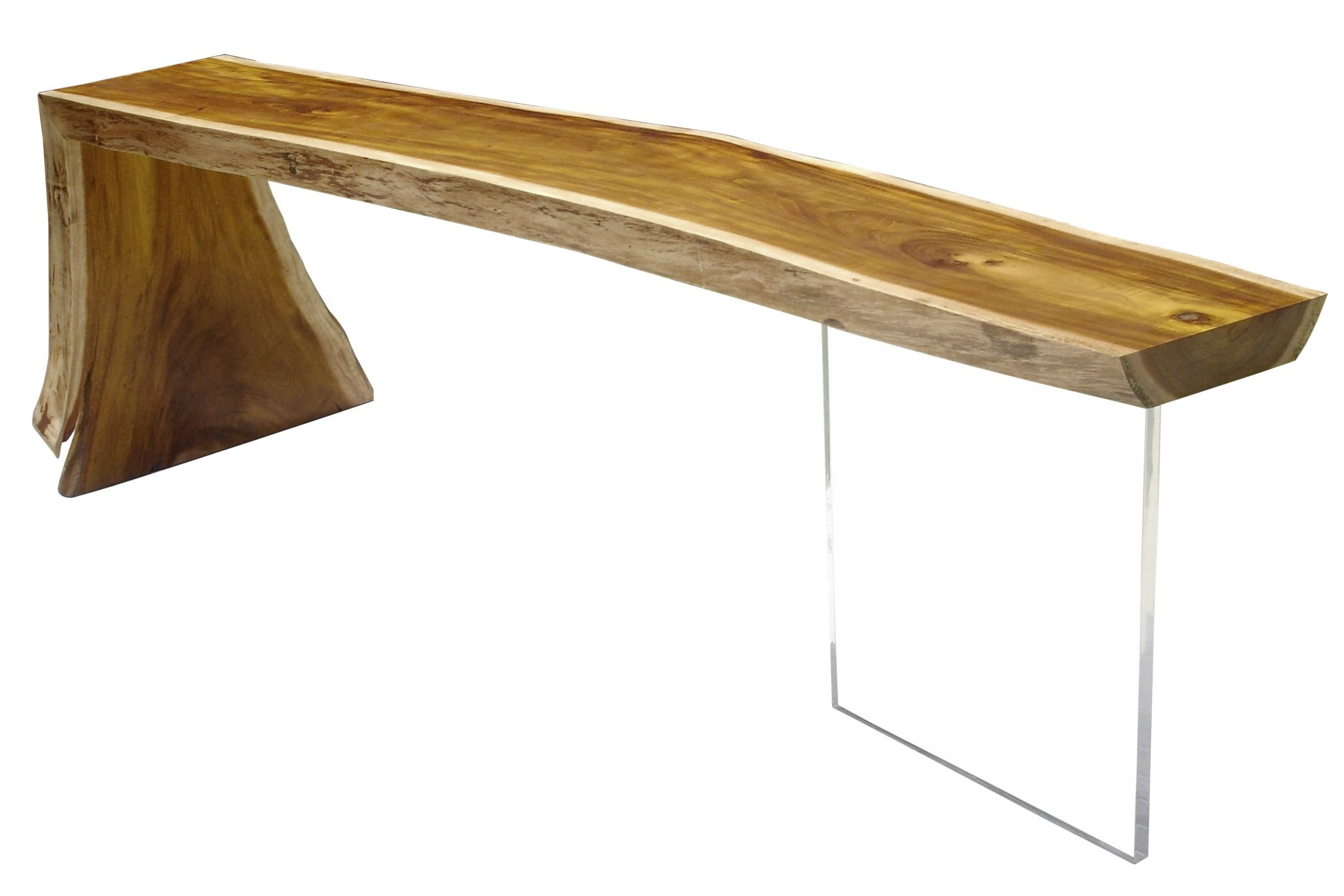 sideboard table wooden rectangular in reclaimed material raw edge lucite
