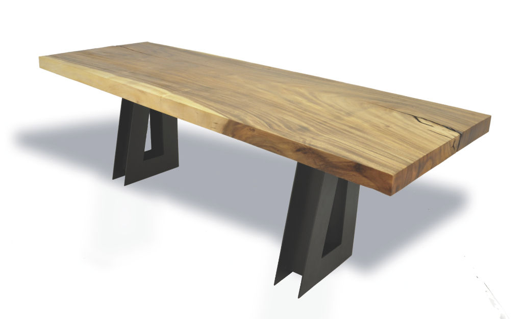 Wooden Desk Contemporary Single Tamburil Slab