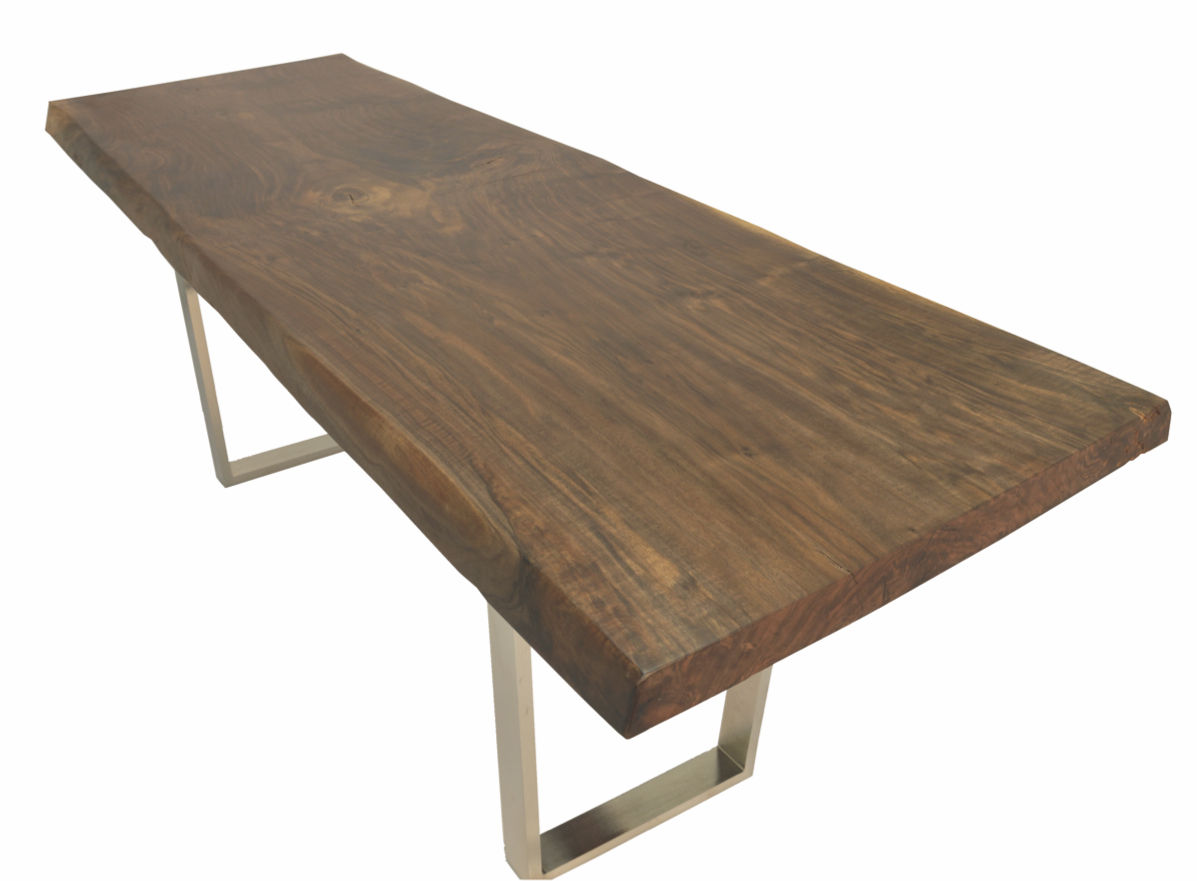 contemporary table  wooden  rectangular  in reclaimed material  - contemporary table  wooden  rectangular  in reclaimed material  liveedge walnut metal base