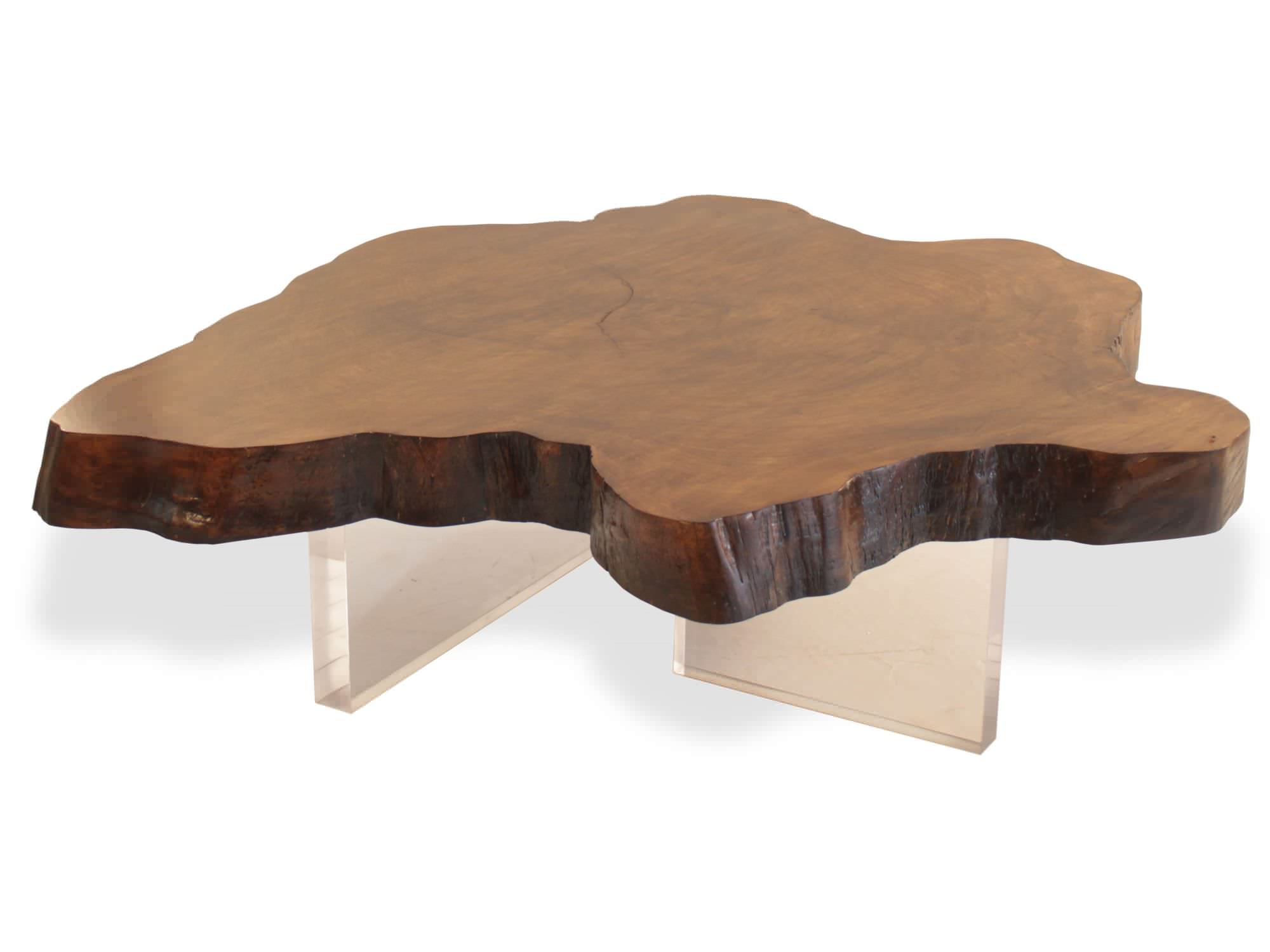 Contemporary coffee table wooden in reclaimed material organic jatoba and acrylic