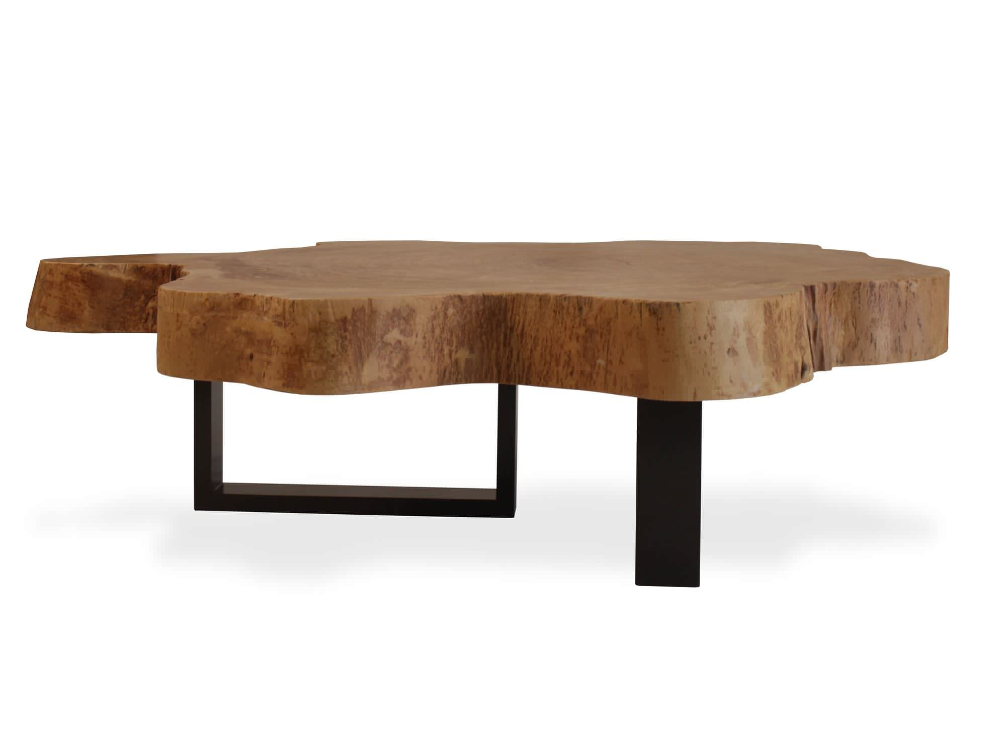 Contemporary Coffee Table Wooden In Reclaimed Material Organic Jatoba And Metal