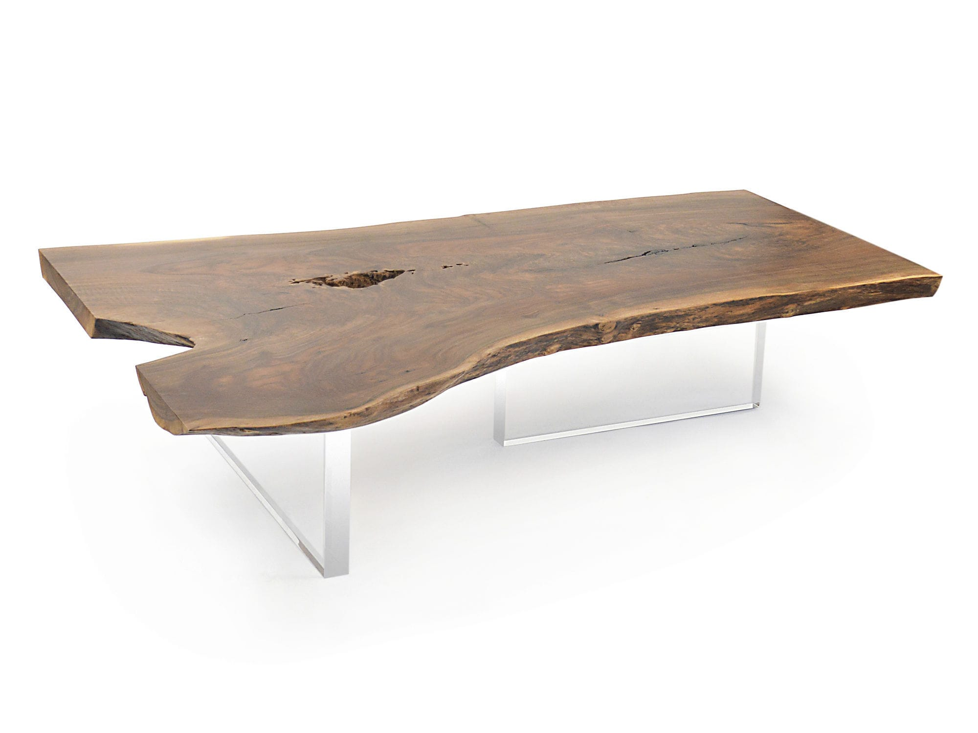 Contemporary coffee table wooden acrylic for hotels live edge
