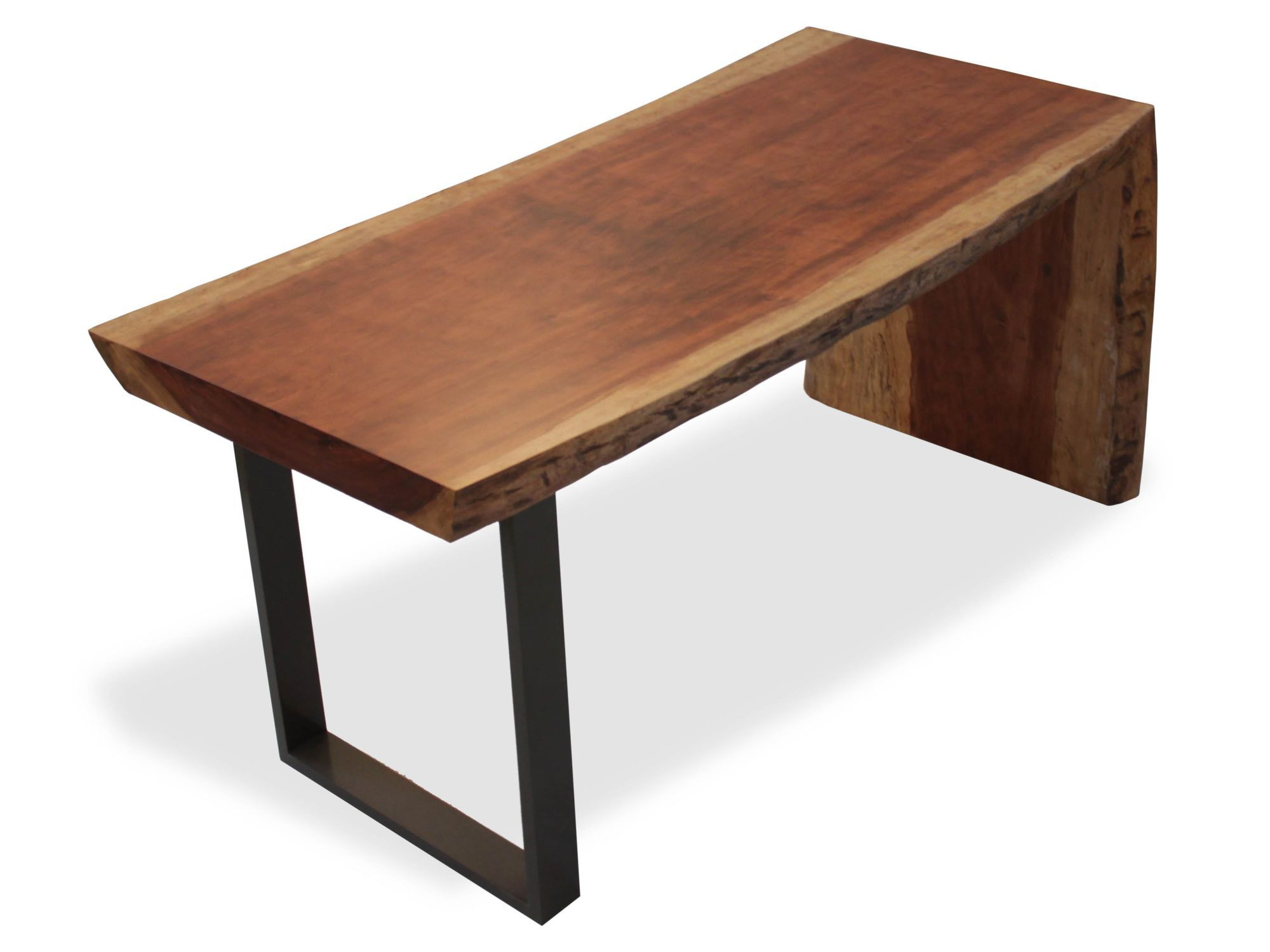 Contemporary Work Table Wooden Metal Rectangular Single Slab
