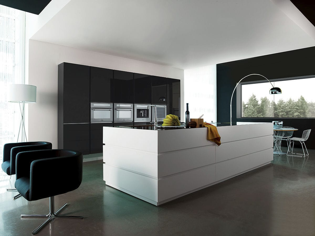 Contemporary kitchen / glass / acrylic / island - LUXURY: CUBIKA - MITON