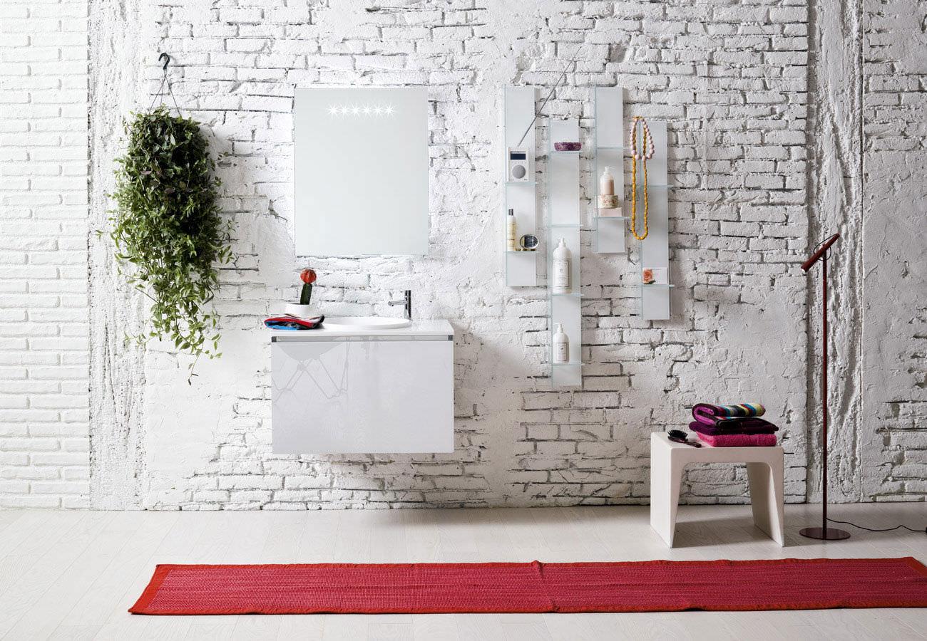 Modular shelf / wall-mounted / contemporary / glass - DOMINO ...