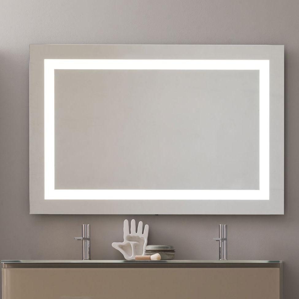 Wall Mounted Bathroom Mirror Led Illuminated Contemporary Rectangular Flash