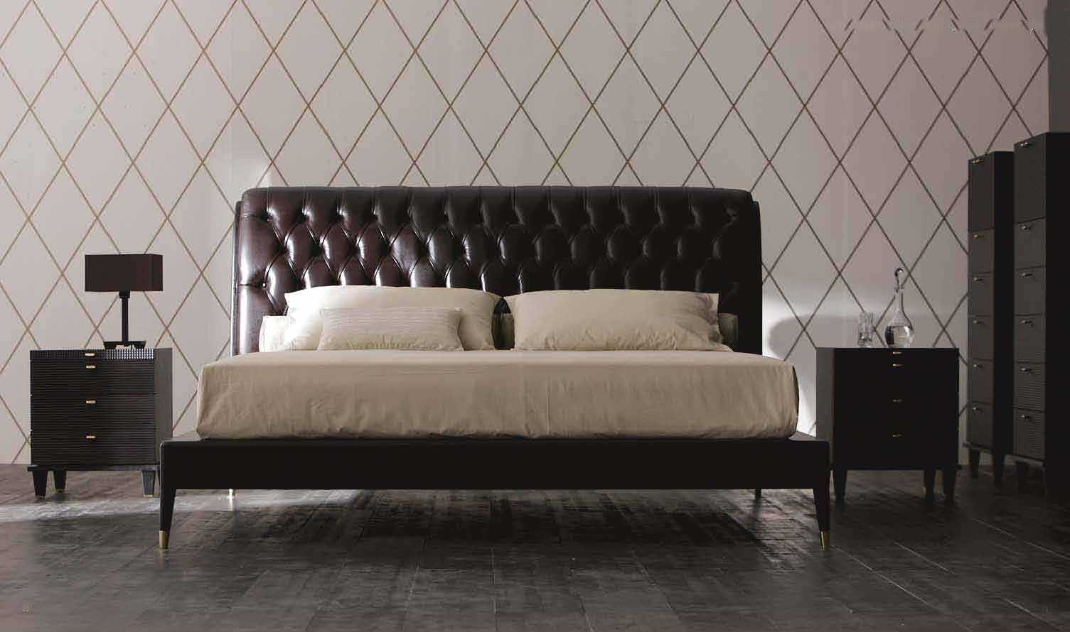 Bed headboard leather - Double Bed Contemporary Leather With Upholstered Headboard