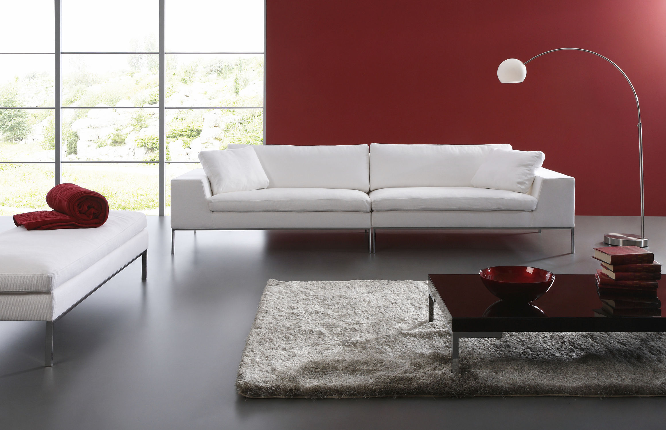 Contemporary Sofa / Leather / 2 Person / White