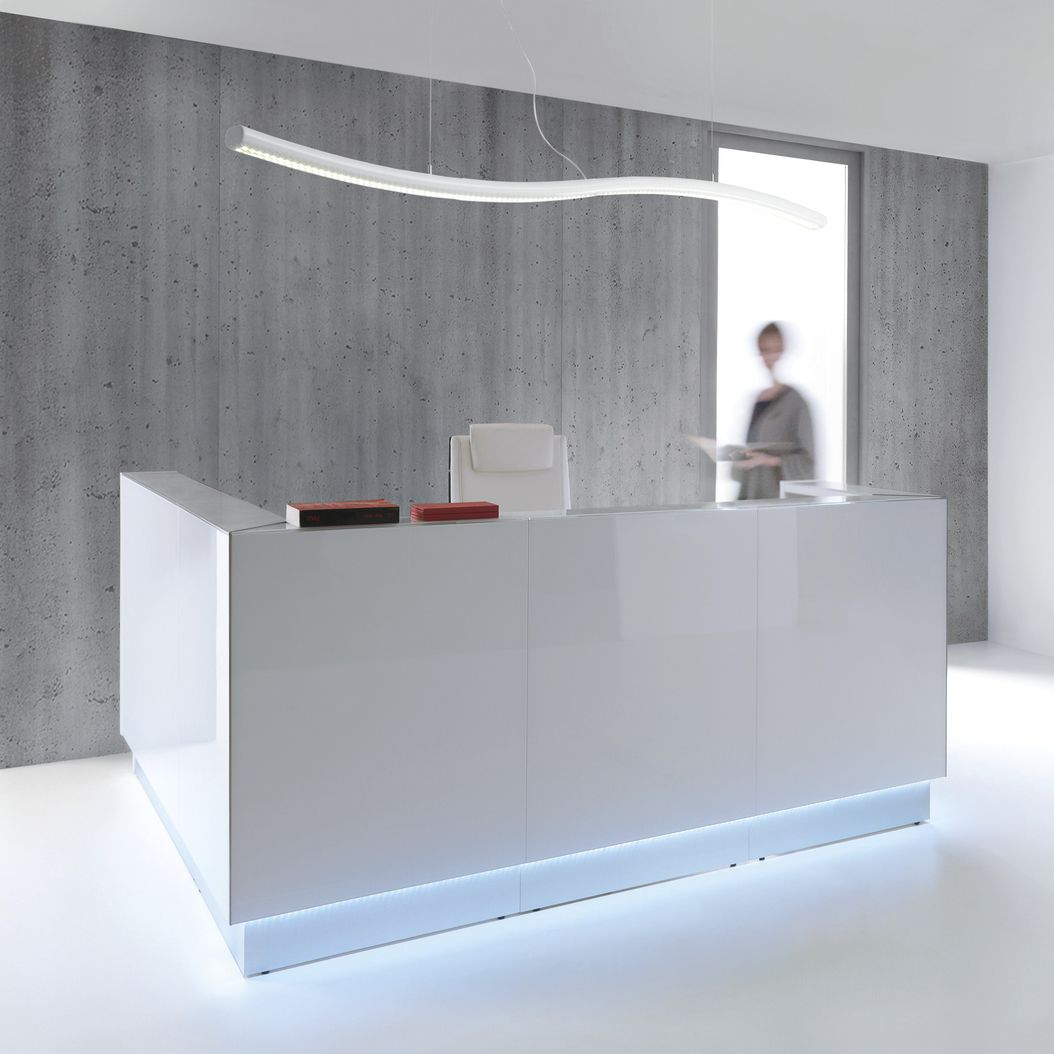 Modular Reception Desk Corner Laminate Stainless Steel Linea Lin40l