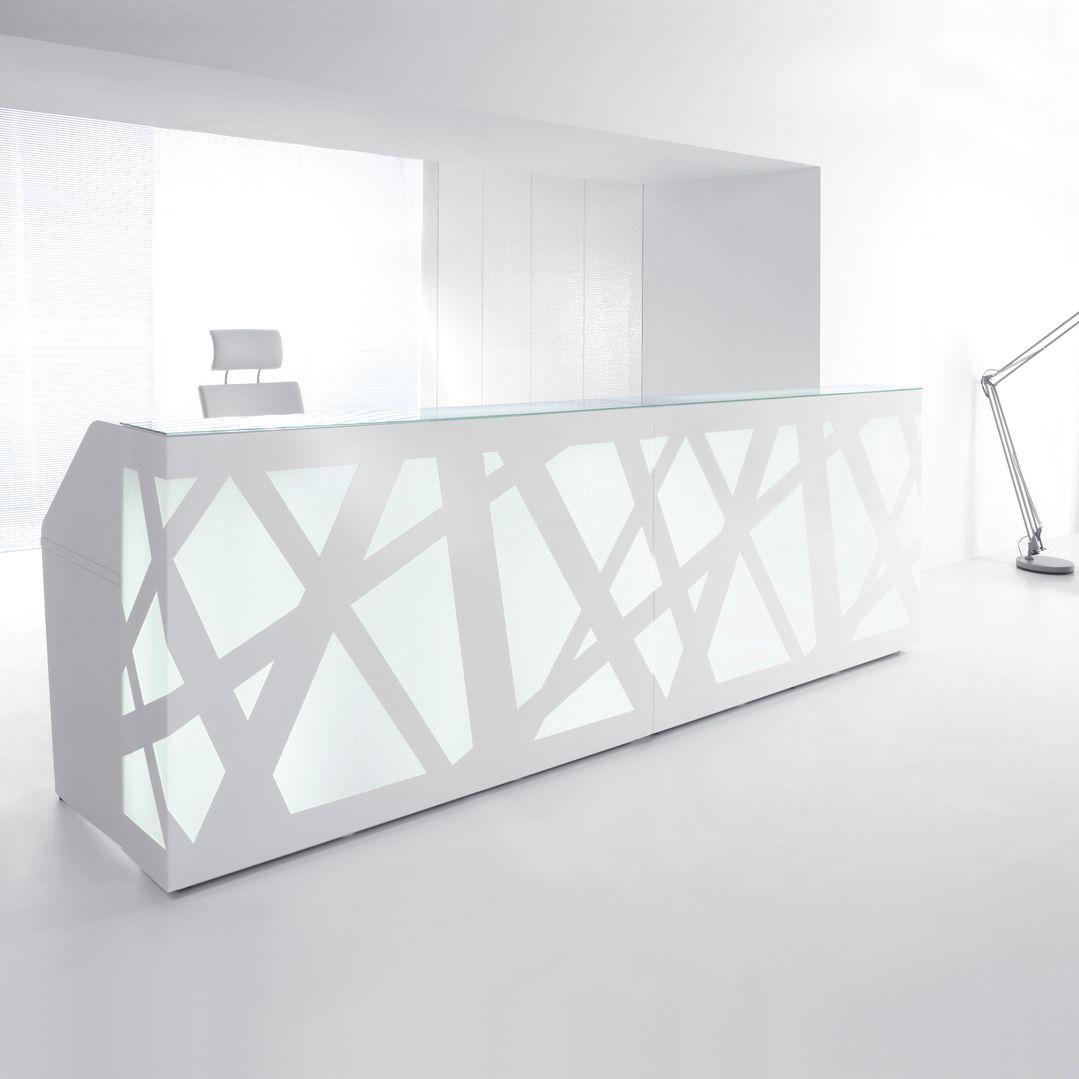 Plexiglas® reception desk / metal / glass / MDF - ZIG-ZAG by ...