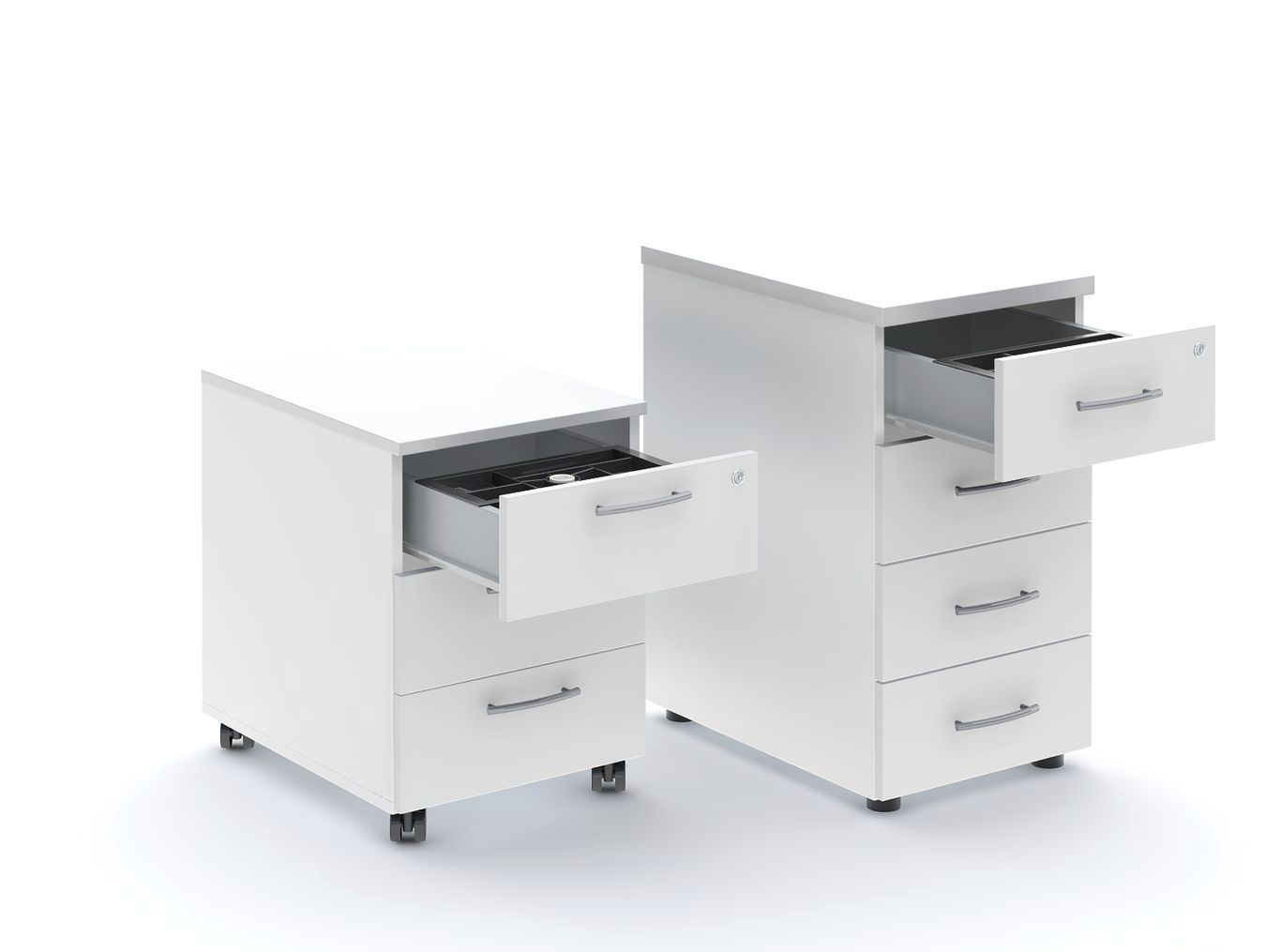 Melamine Office Unit 3 Drawer 4 On Casters