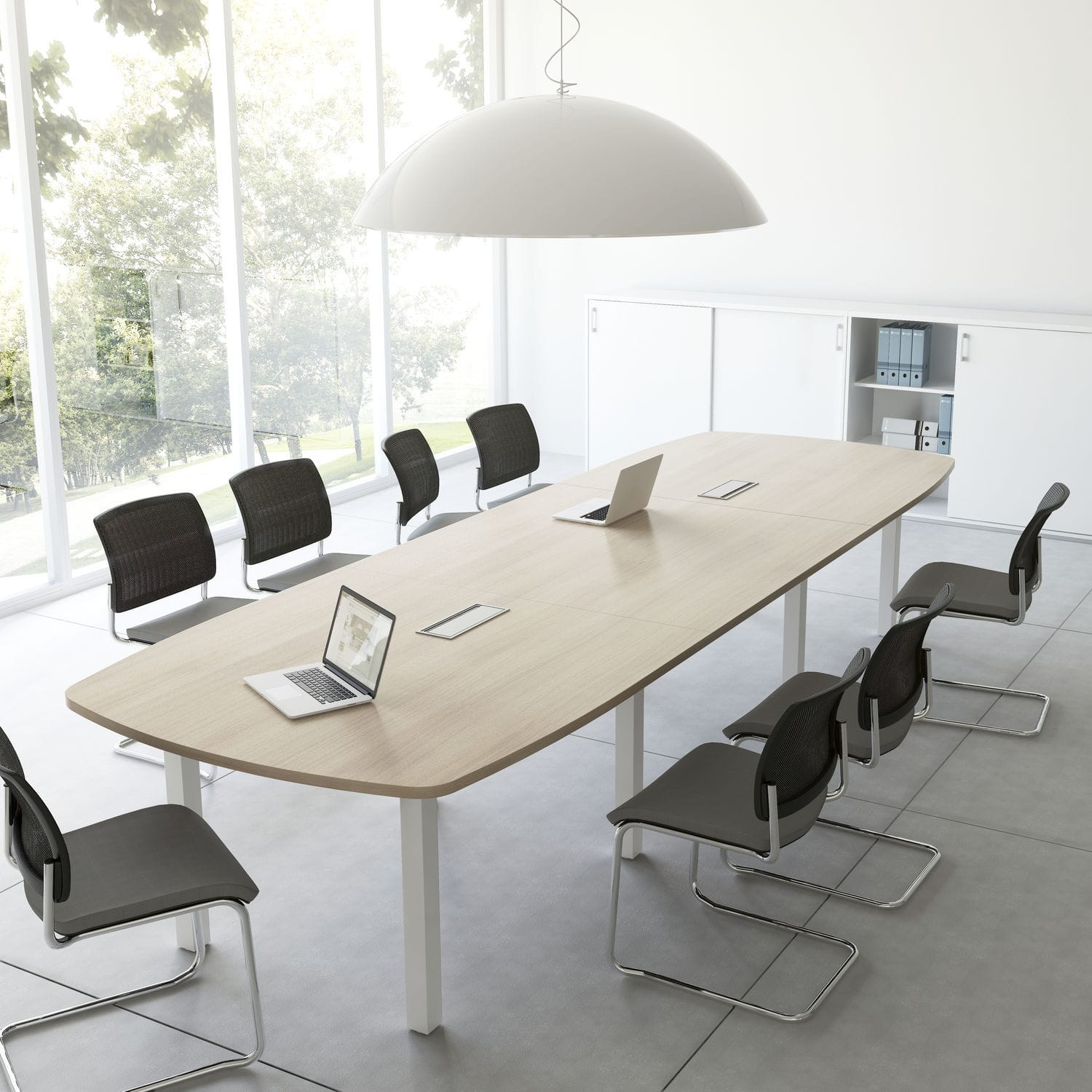 Contemporary boardroom table wooden rectangular round