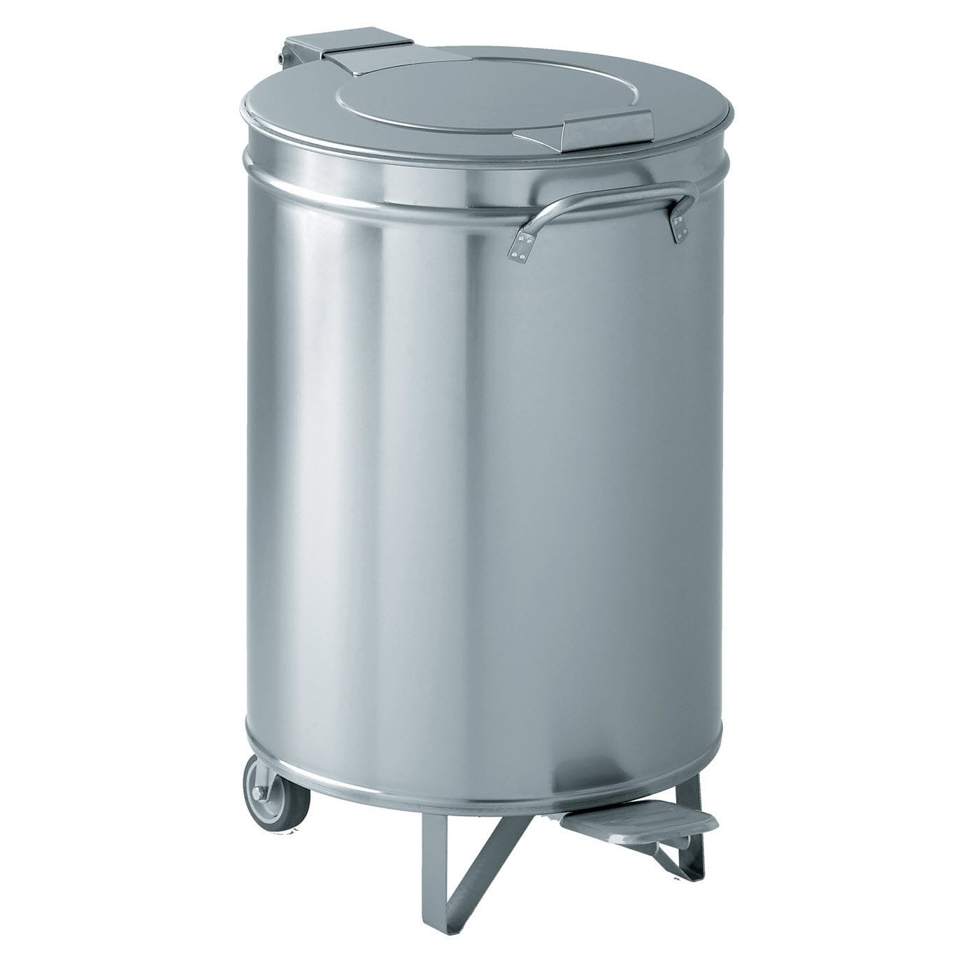Public trash can / stainless steel / with wheels / contemporary ...