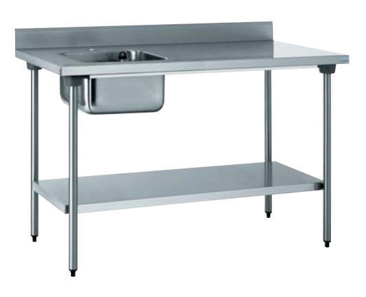 stainless steel prep table / with storage compartment / with sink