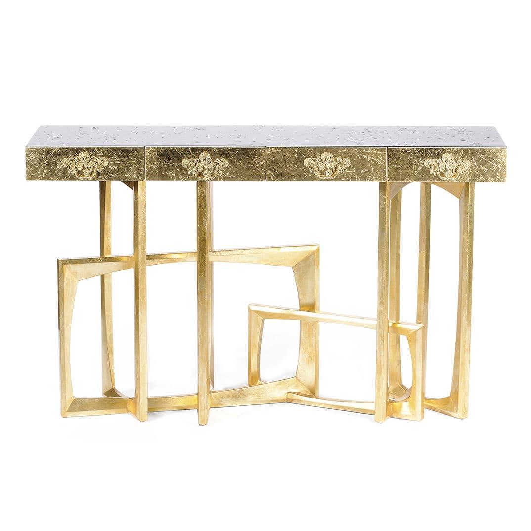 Original design sideboard table / mahogany / brass / rectangular ...