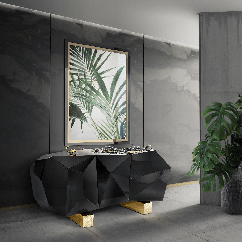 Original design sideboard / wooden / brass / black - DIAMOND ...