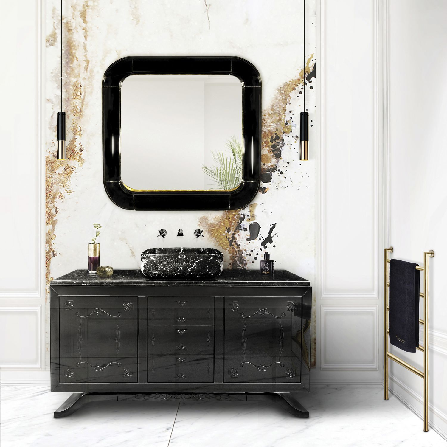 Wall-mounted mirror / living room / bedroom / contemporary - RING ...