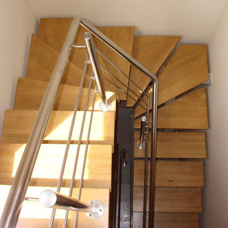 Half Turn Staircase / Stainless Steel Frame / Wooden Steps / Without Risers