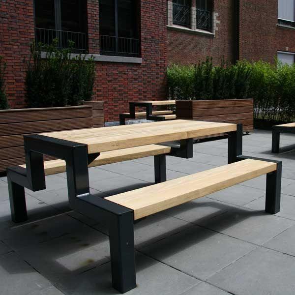 Contemporary Picnic Table Wooden Galvanized Steel Rectangular - Galvanized picnic table frame