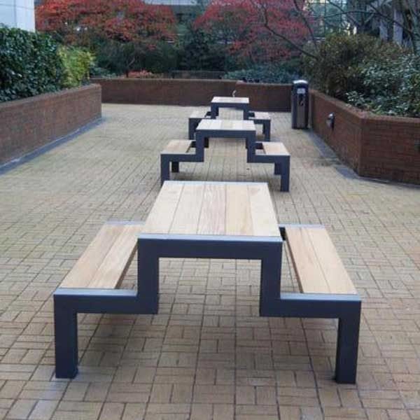Contemporary Picnic Table Wooden Galvanized Steel Rectangular - Steel picnic table frame
