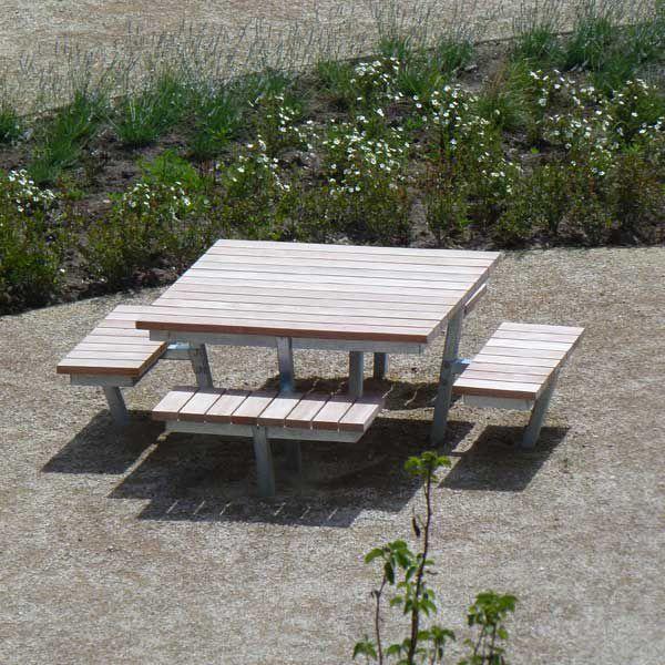 Contemporary Picnic Table Wooden Galvanized Steel Square