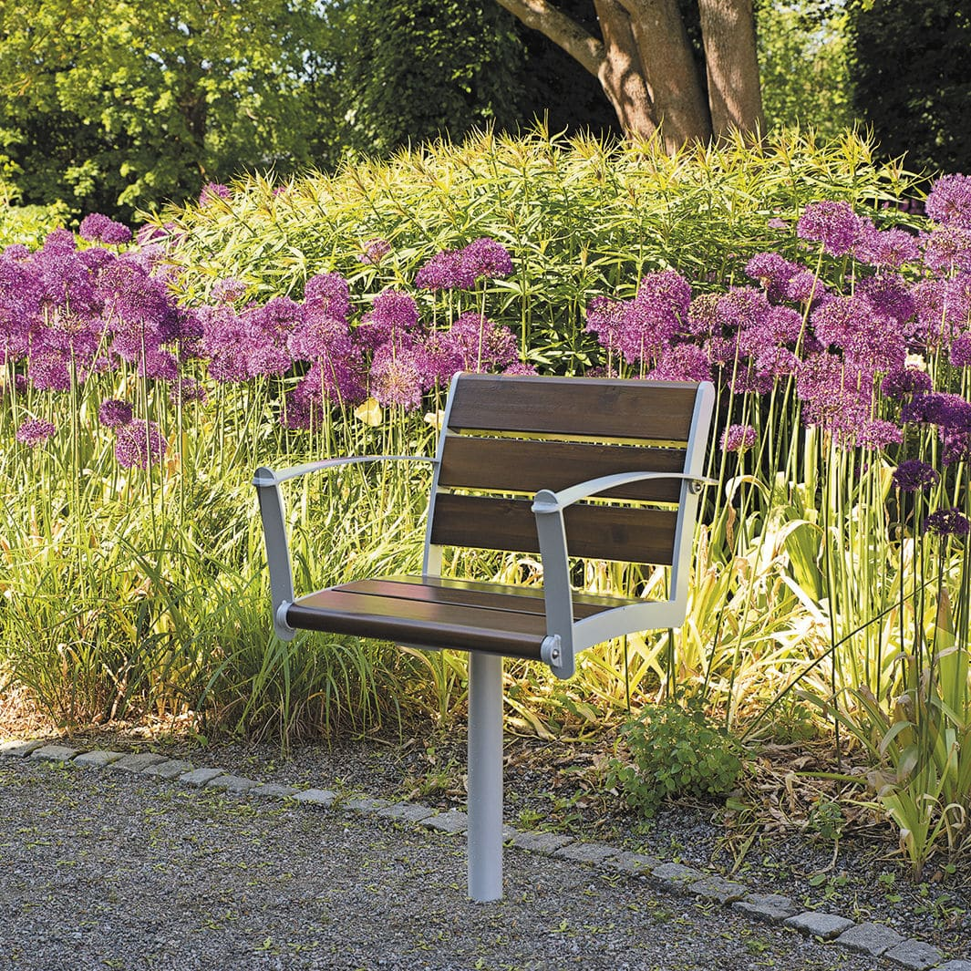 Contemporary Garden Chair With Armrests Metal Wooden Nf4022