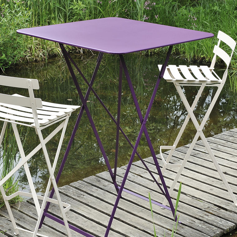 Traditional High Bar Table / Sheet Steel / Lacquered Steel / Square   BISTRO