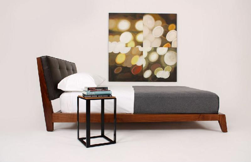 Double bed / contemporary / leather / with upholstered headboard - TRACI - Double Bed / Contemporary / Leather / With Upholstered Headboard