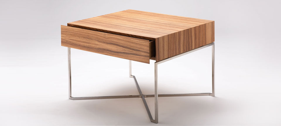 Modern Bedside Table contemporary bedside table / wooden / stainless steel