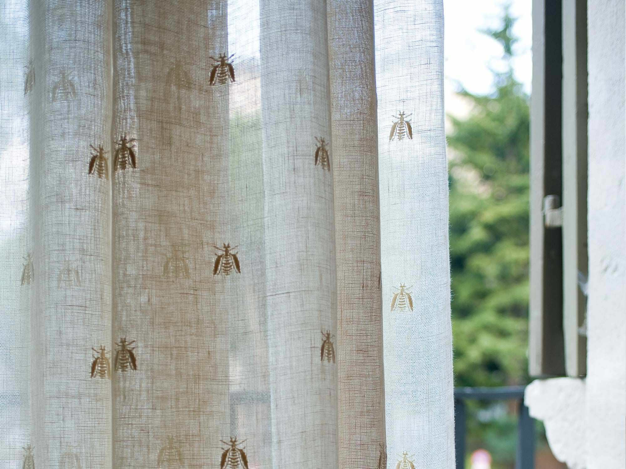 Curtain fabric / patterned / linen - BEE ALL OVER - MASTRO RAPHAËL