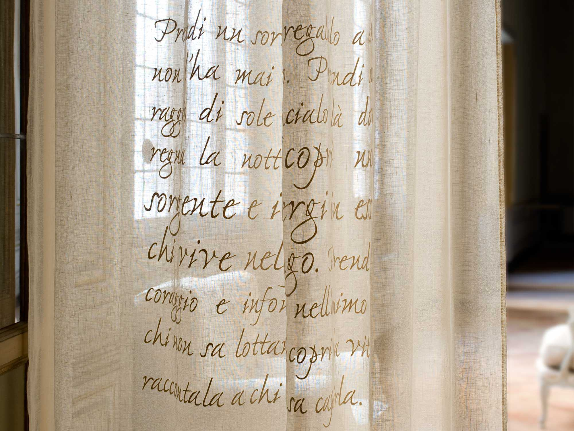 Curtain fabric / patterned / linen - GANDHI - MASTRO RAPHAËL