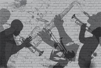Contemporary Wallpaper Panoramic Sketch Black