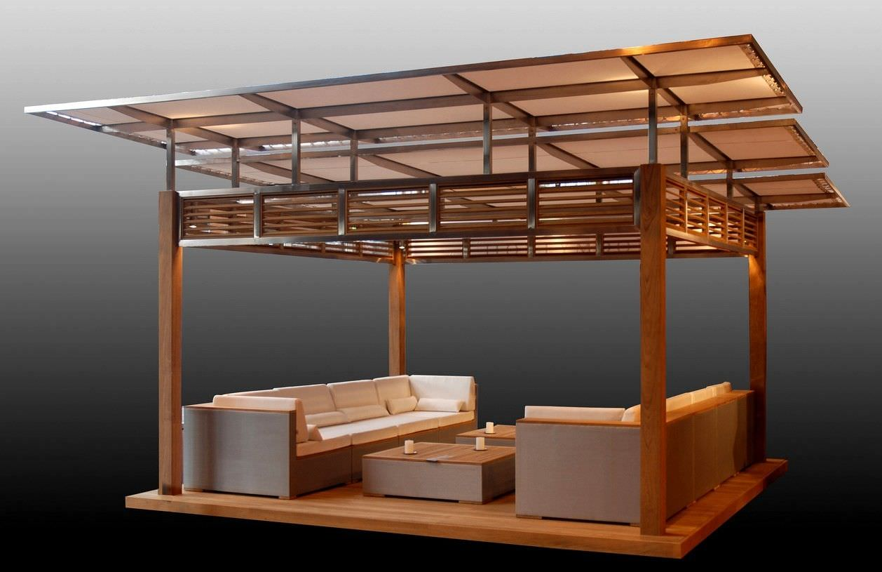 Teak Gazebo Stainless Steel Fabric Roof