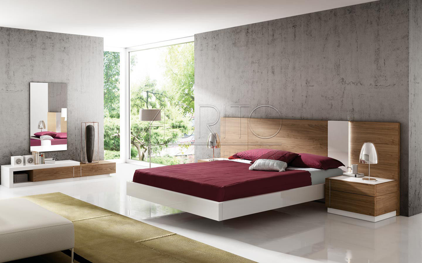 Floating Bed Double Contemporary With Headboard Select 06c