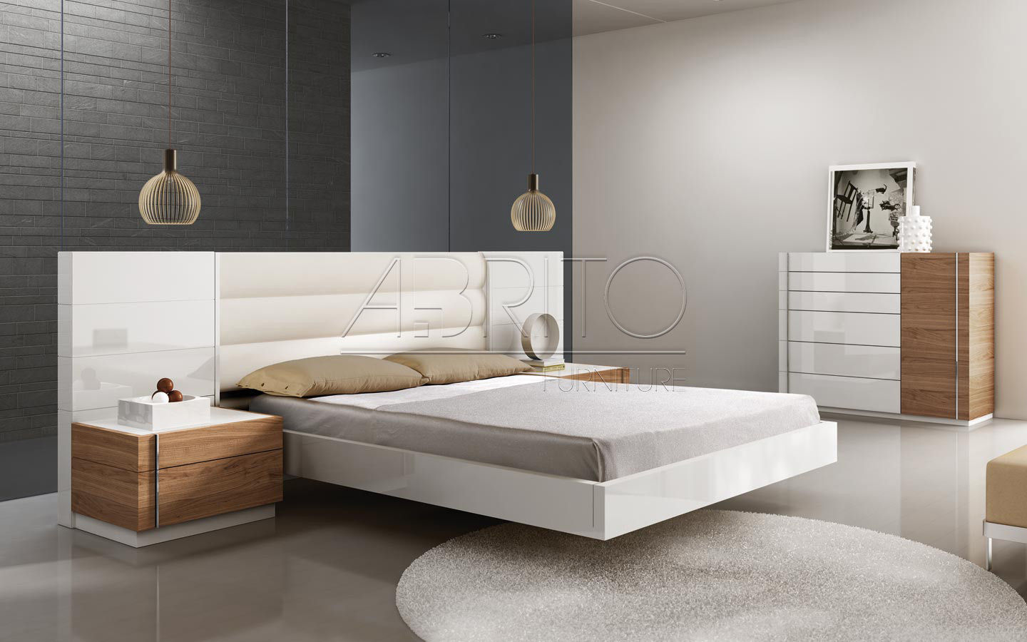 Floating Bed Double Contemporary With Headboard Select 02c