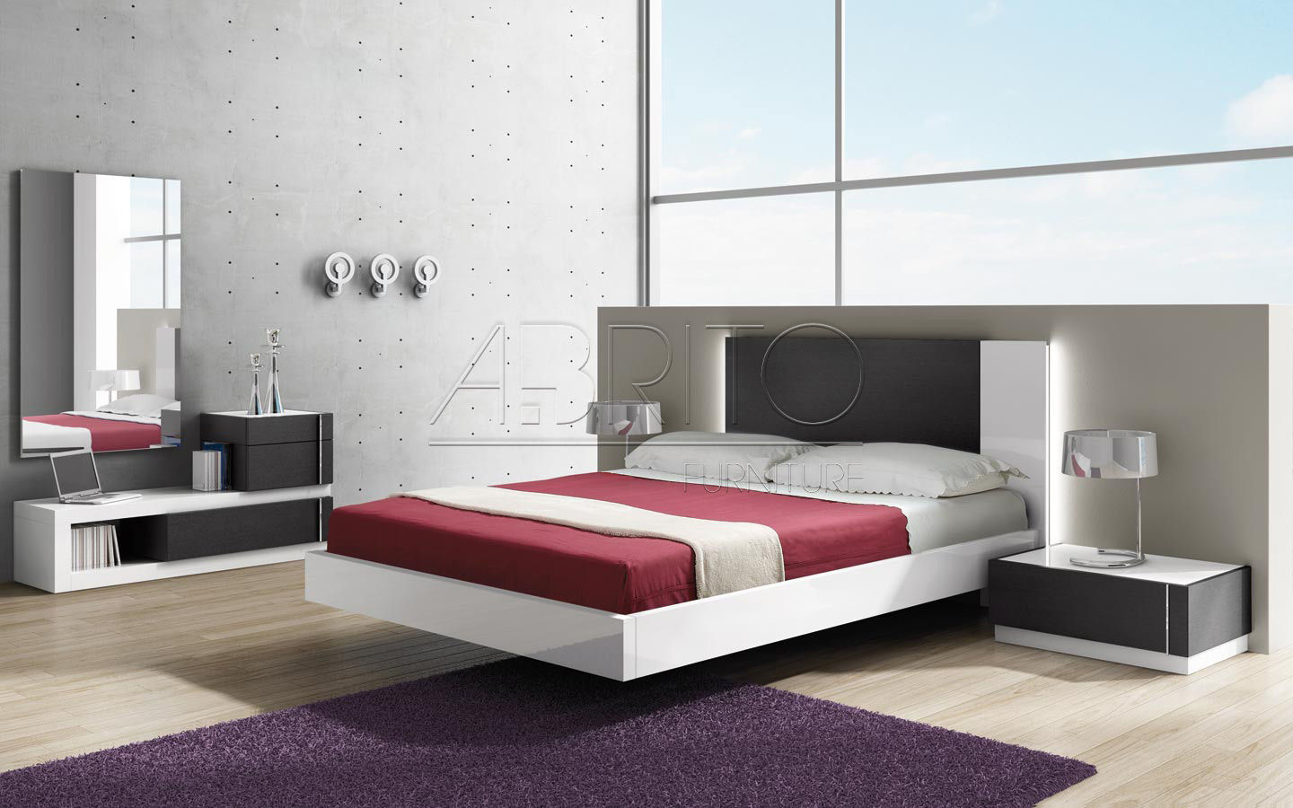 Floating bed / double / contemporary / wooden - SELECT : 07C - A ...
