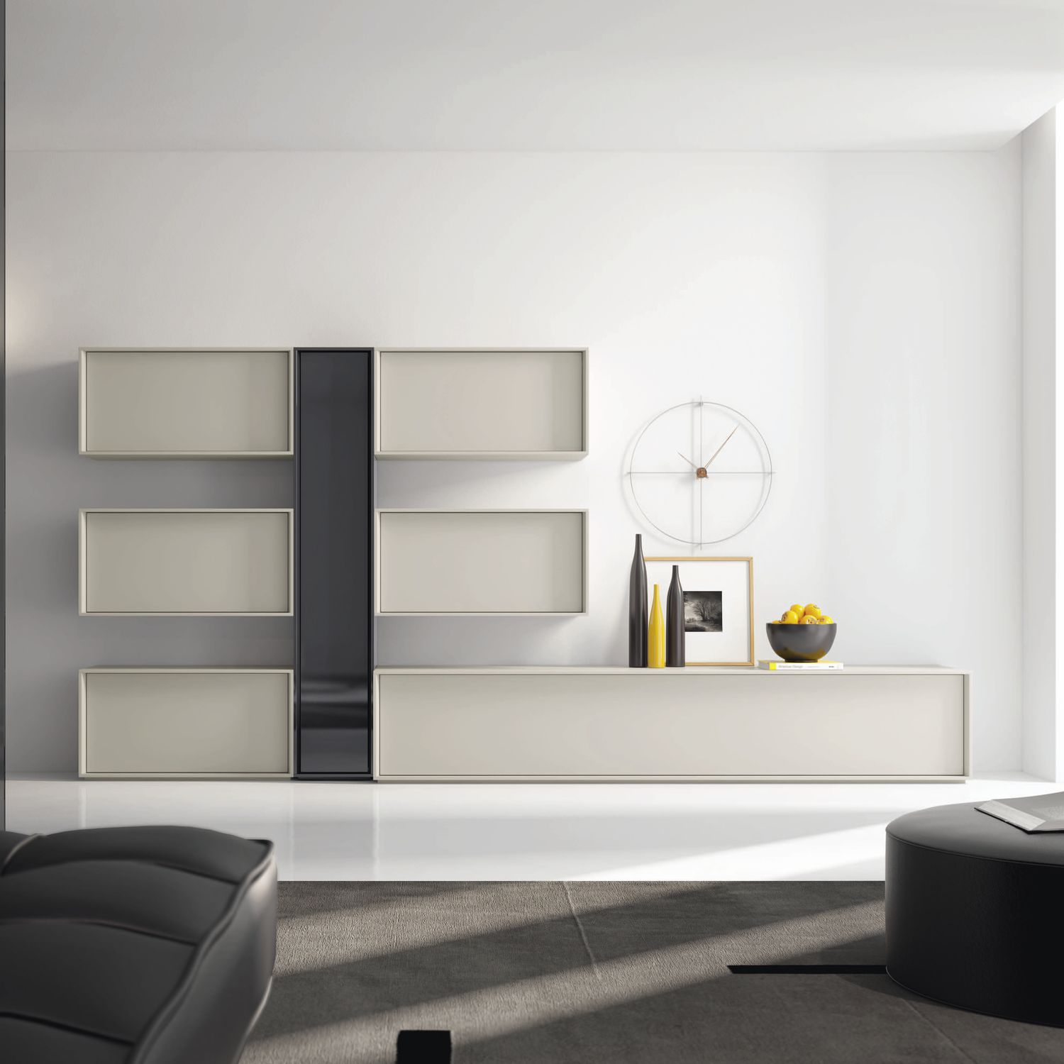 Contemporary living room wall unit lacquered wood NEXT 203 A
